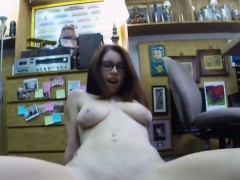 Babe in glasses pawns her...