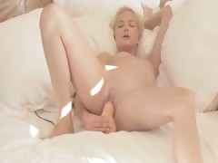 blond beauty riding her...